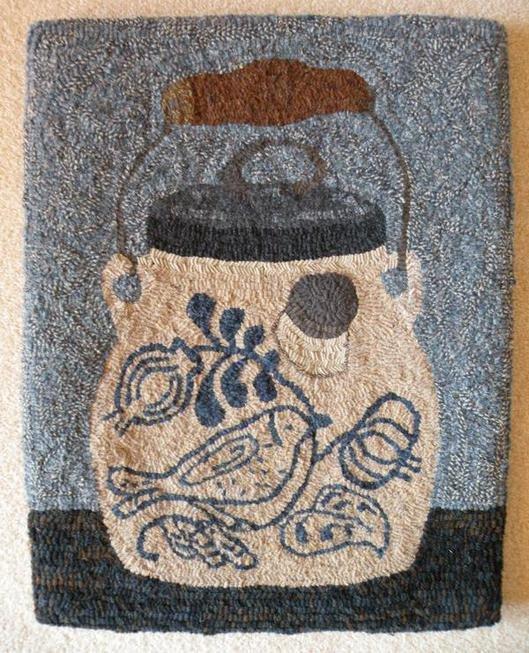 Birdie Better Crock Pattern on Linen