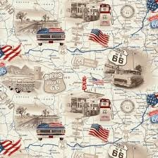 All-American Road Trip Tan Travel Map