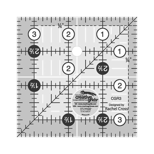 Creative Grids Ruler 3.5 by 3.5 Turn-a-Round NON-SLIP Ruler