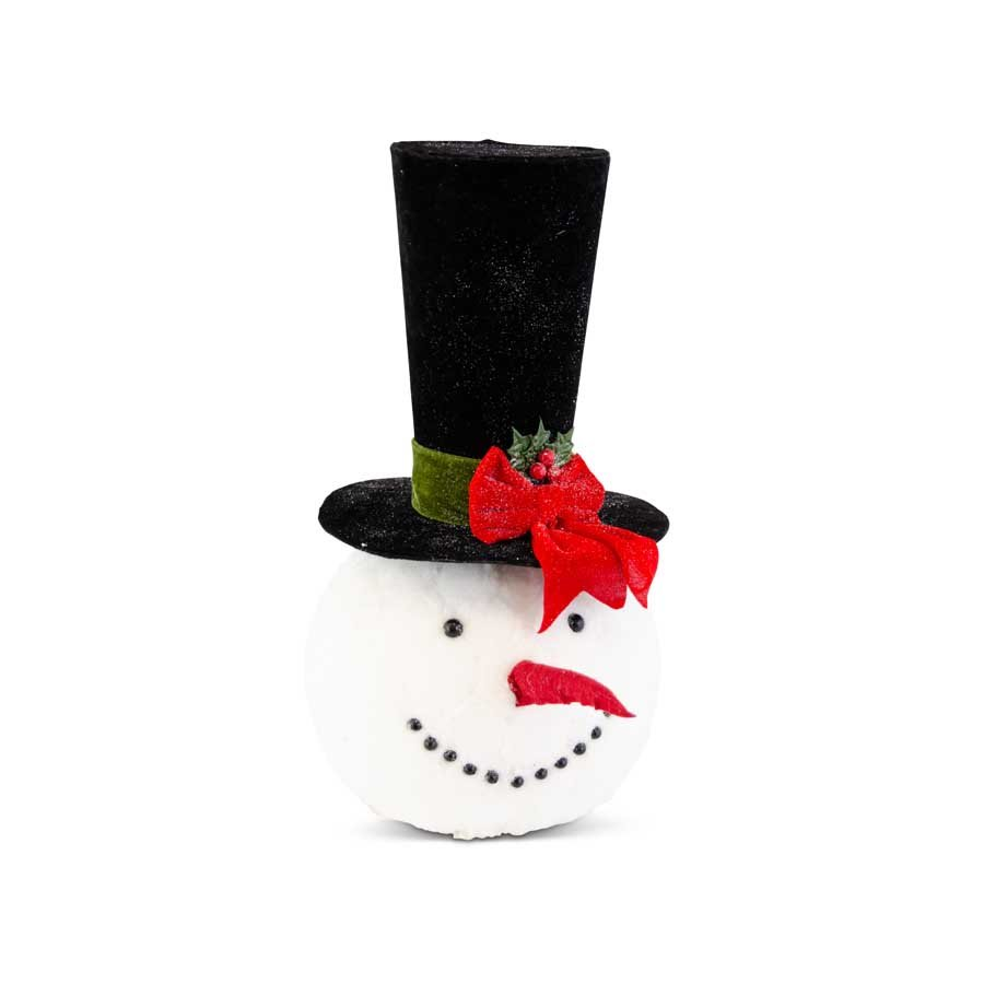 Glittered Snowman Head w/Top Hat 19in