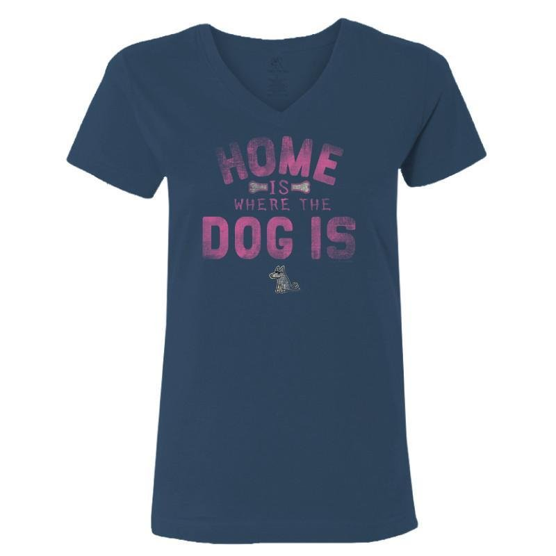 Home is Where the Dog Is (Pink Text) - Ladies T-Shirt V-Neck