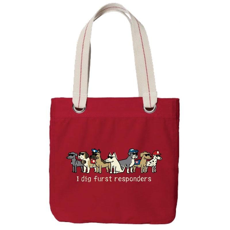 Canvas Tote Red I dig furst responders
