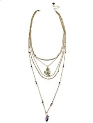 Three Row Gold Chain Necklace w/ Lavender Beads