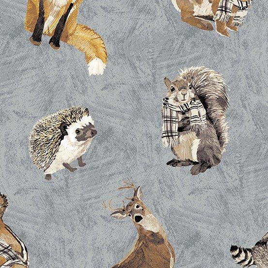 Woodland Collage Slate - 100% Cotton