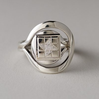 Sterling Silver Friendship Star Quilt Block Ring