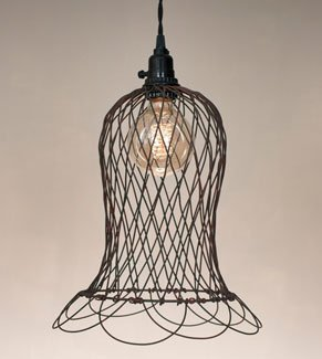 Wire Bell Pendant Lamp W/ Stick Bulb