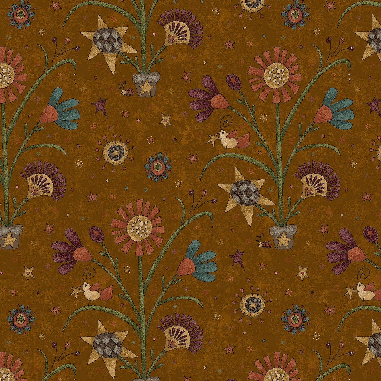 My Back Porch 8917-33 Cheddar Folk Flowers