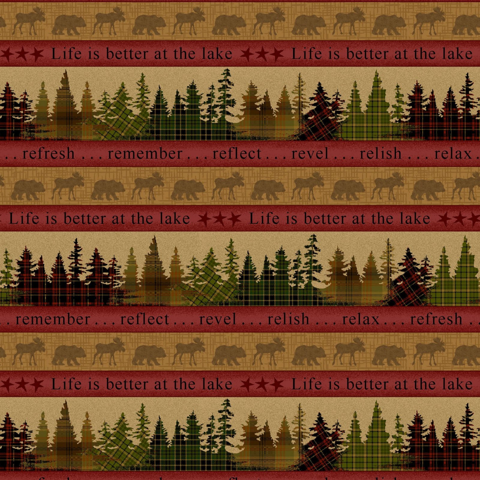 Tree Stripe 8609-83 Red & Gold multi