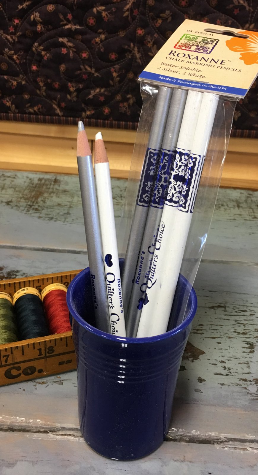 Roxanne Quilter's Choice Marking Pencils 2 ea Silver & White
