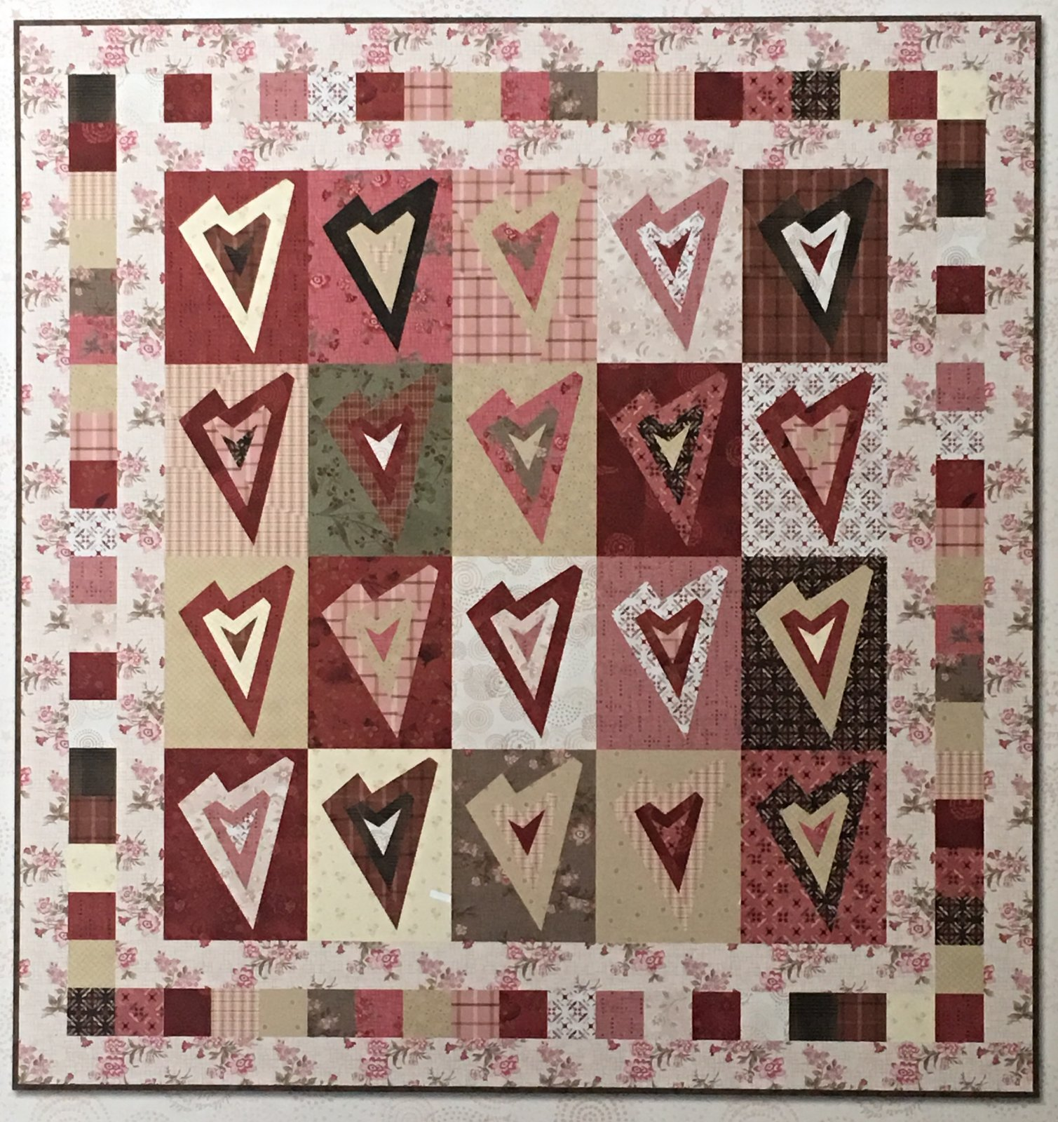 Log Cabin Hearts Kit with pattern- Tickled Pink fabrics