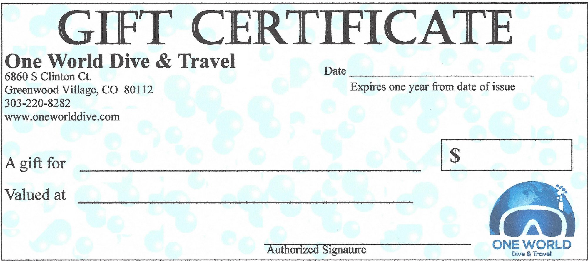 One World Dive Travel Gift Certificate 25
