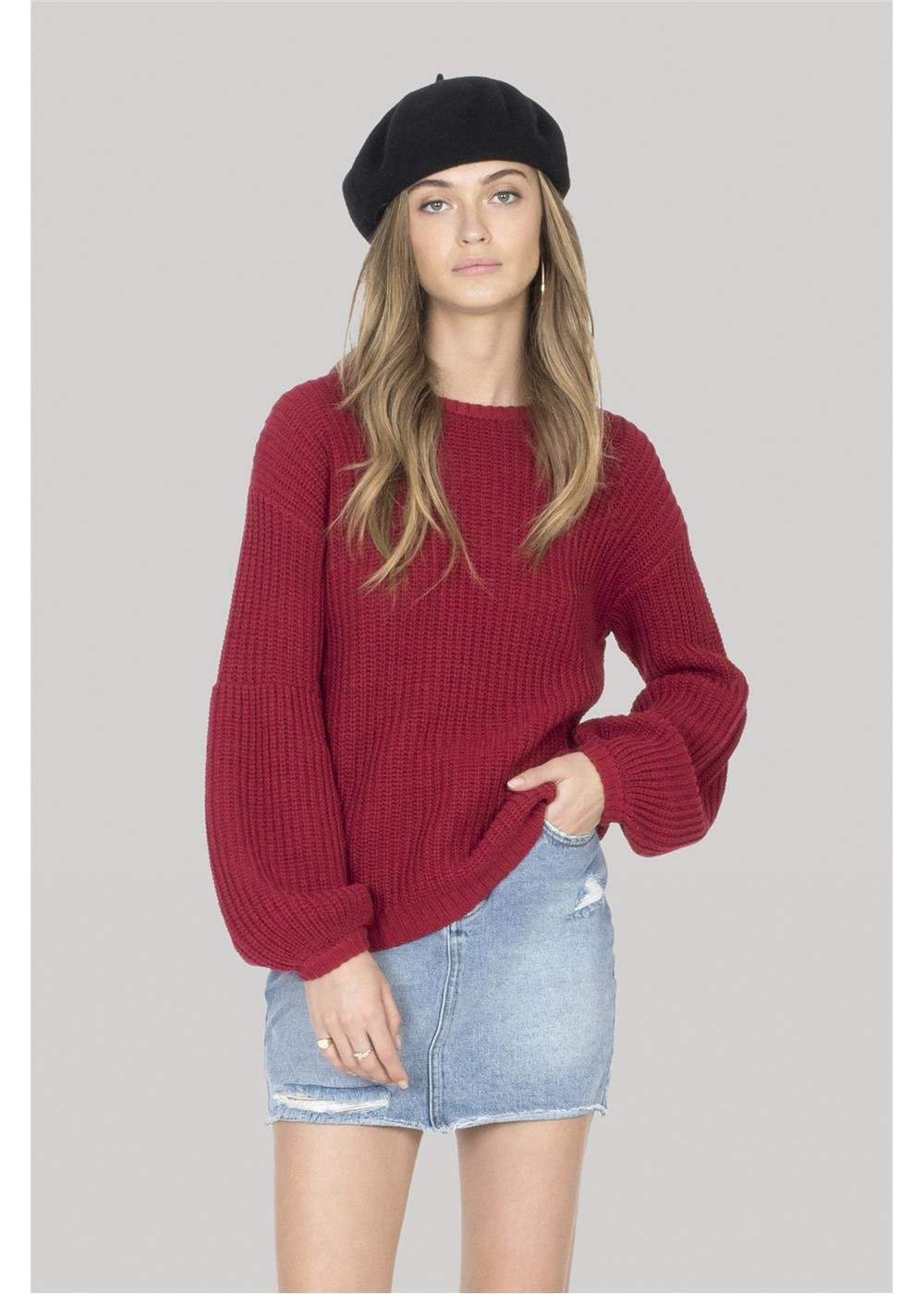 Amuse Society Rodas Sweater Crimson