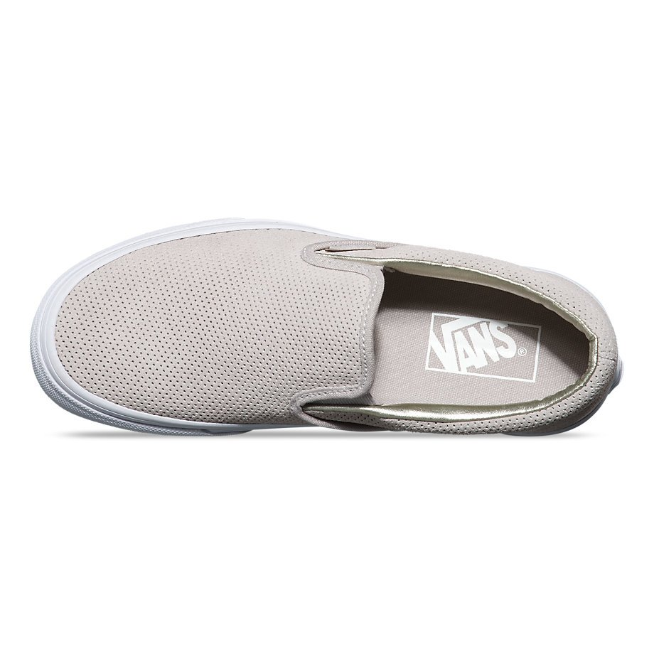 6ff41444421c0e Vans Classic Slip-On (Perf Suede) Silver Cloud  True White - 190284505831