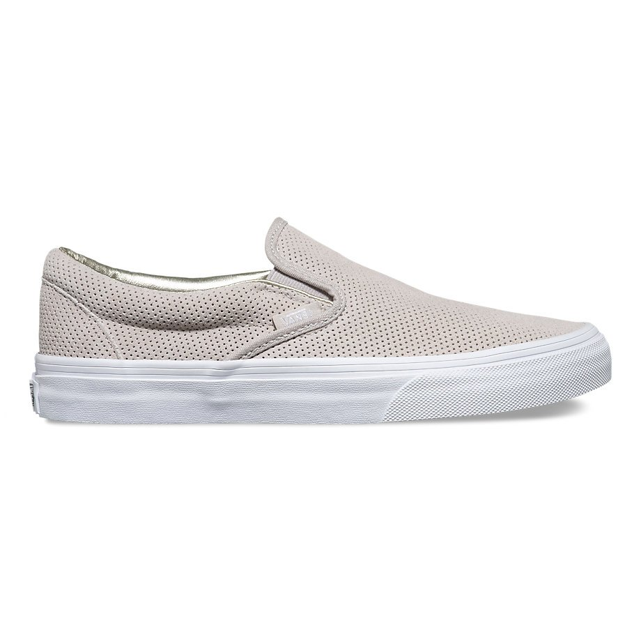 Vans Classic Slip-On (Perf Suede) Silver Cloud  True White ... d3a28f7d1