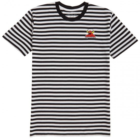 Toy Machine Striped Embroidered Monster Tee Black/White