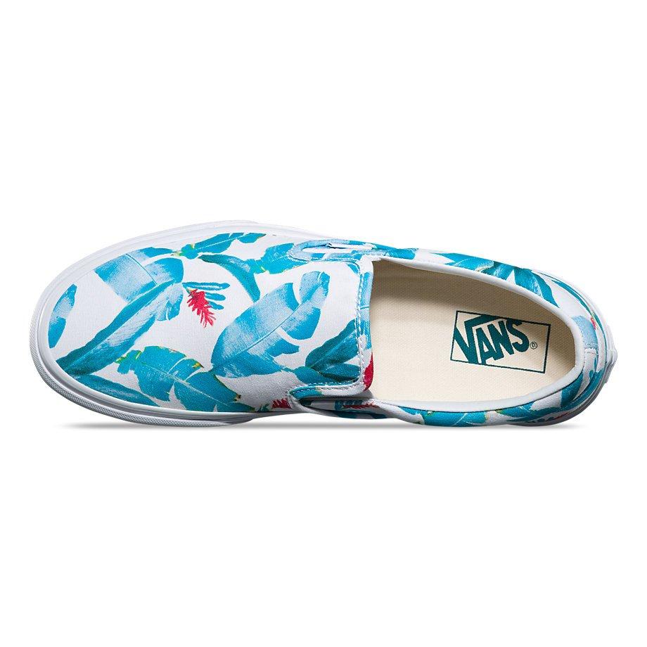 657132e9ee Vans Classic Slip-On (Bonsai Leaf) True White Deep Teal - 190288999193