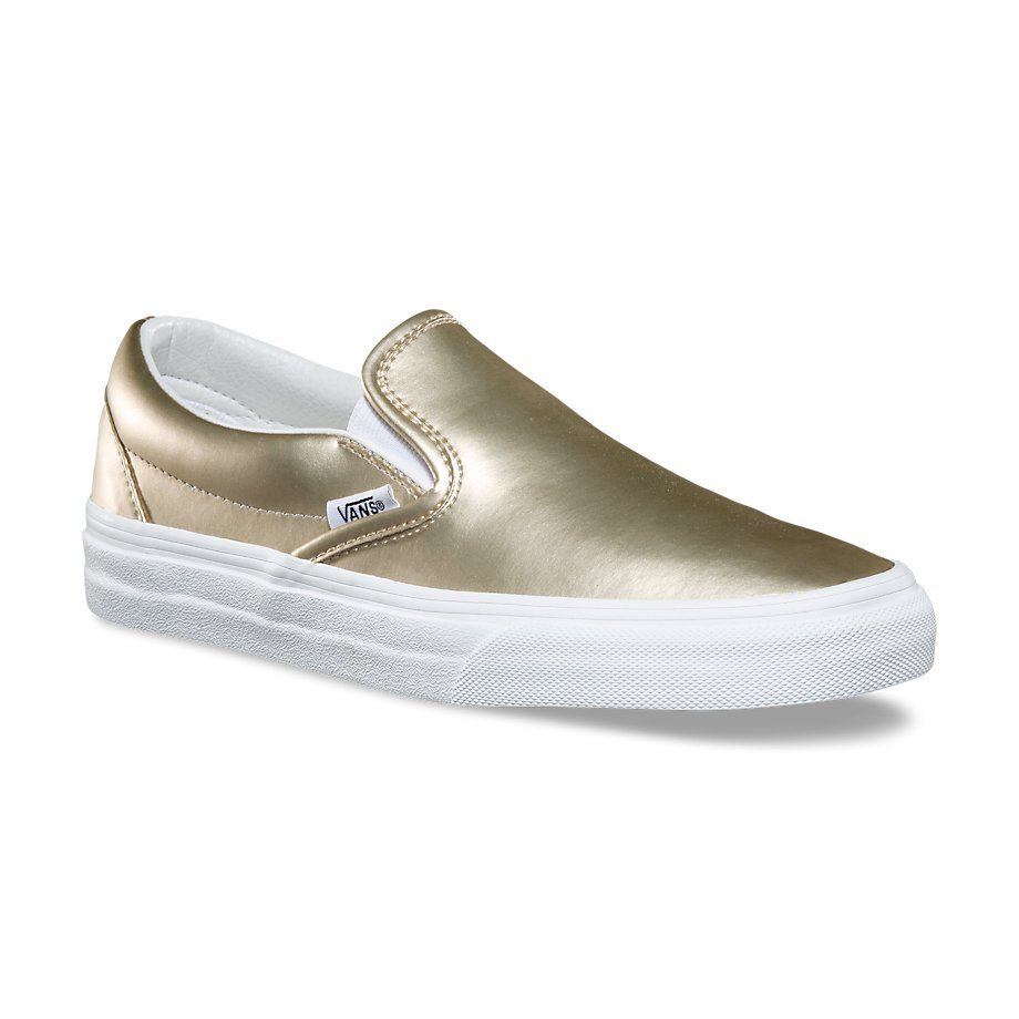 8c17b1fd039476 Vans Classic Slip-On (Muted Metallic) Gold True White