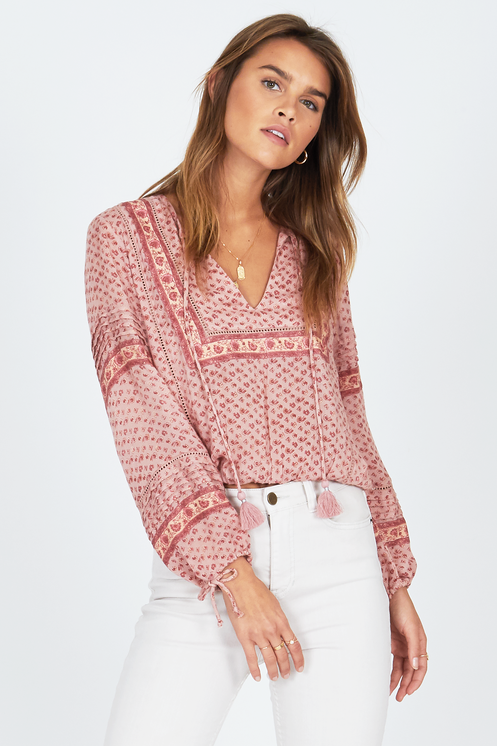 Amuse Society Lakefront Woven Top Blush