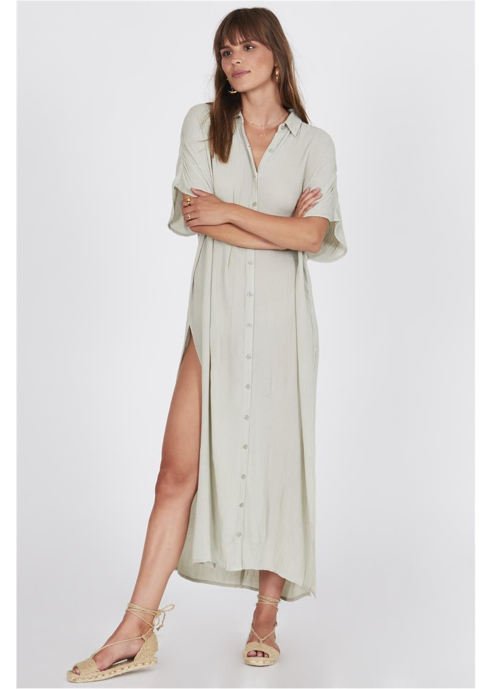 Amuse Society Tranquilo Woven Dress Palm Green