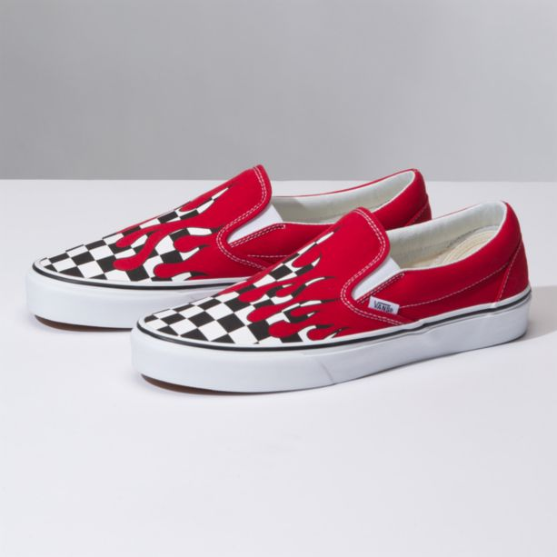 eeb54b62e4 Vans Classic Slip-On (Checker Flame) Racing Red True White ...