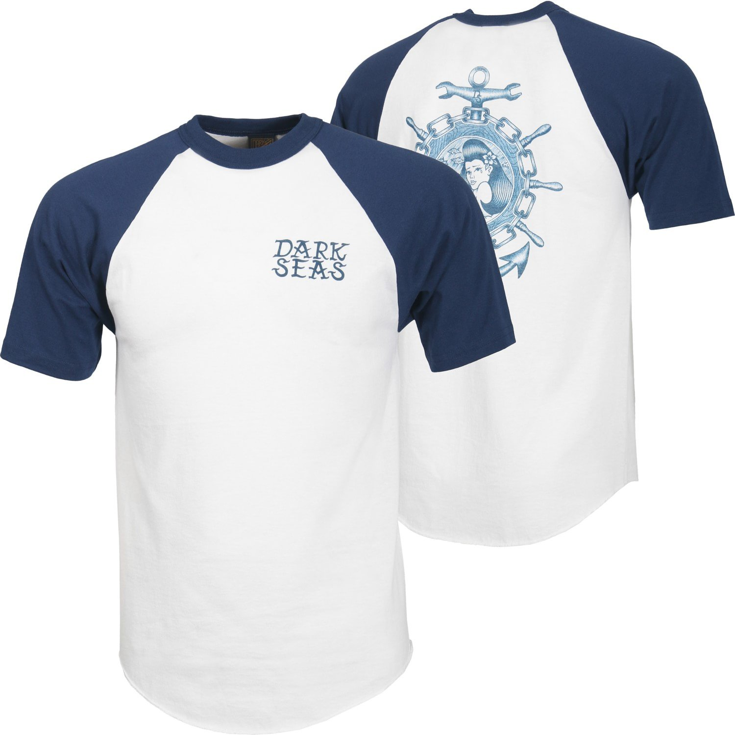 Dark Seas Lost At Sea SS Raglan White/Navy
