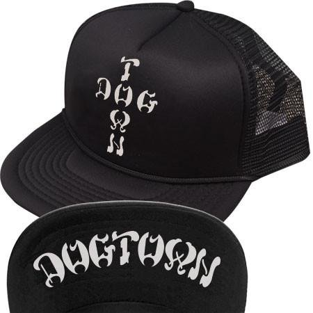 Dogtown Cross Letters Flip Trucker Hat Black