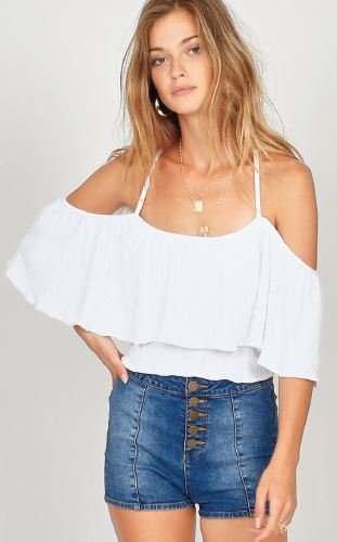 Amuse Society Life's A Frill Knit Top White