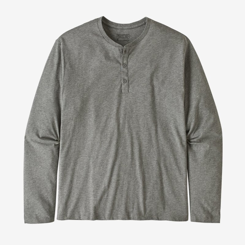 Patagonia Long-sleeved Organic Cotton Lightweight Henley Pullover Feather Grey