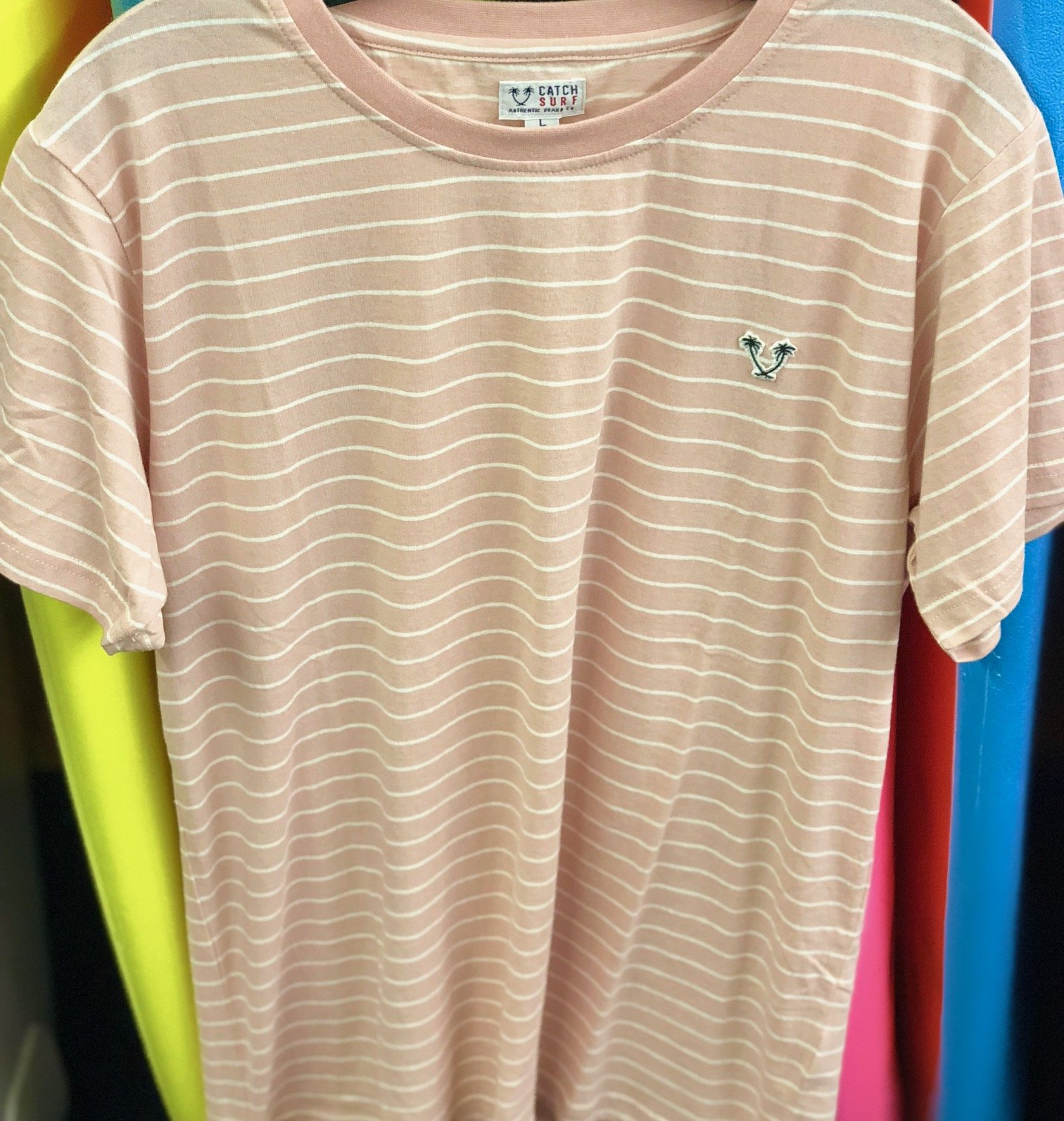Catch Surf Ensign Shortsleeve Striped Knit Pink