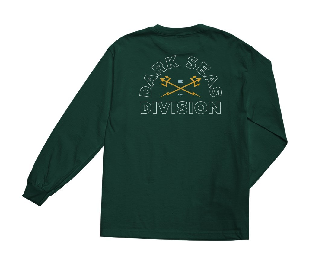 Dark Seas Outlines Longsleeve Tee Forest Green