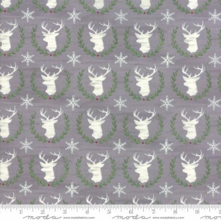 Hearthside Holiday - Laurel Deer - Slate Grey - Brushed Cotton