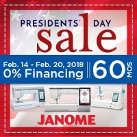 Janome Presidents' Day Financing Offer