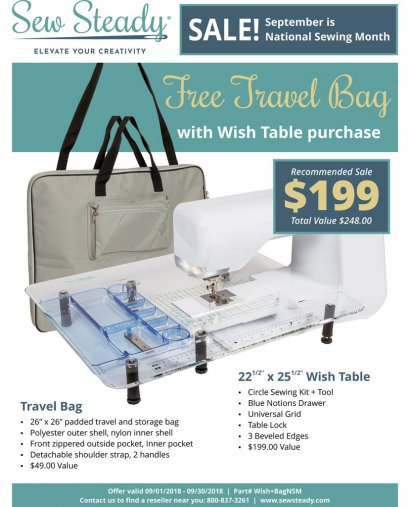 Sew Steady Wish Table and Free Bag