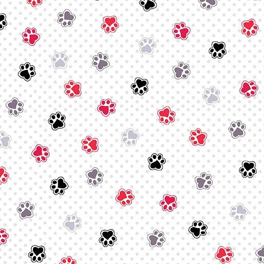 Scottie Love Flannel -Love Those Paws -White