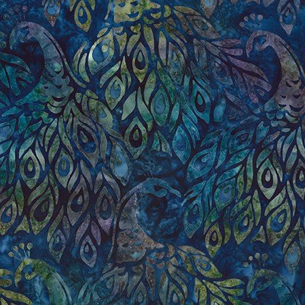 Artisan Batiks: Fancy Feathers 3 - Navy