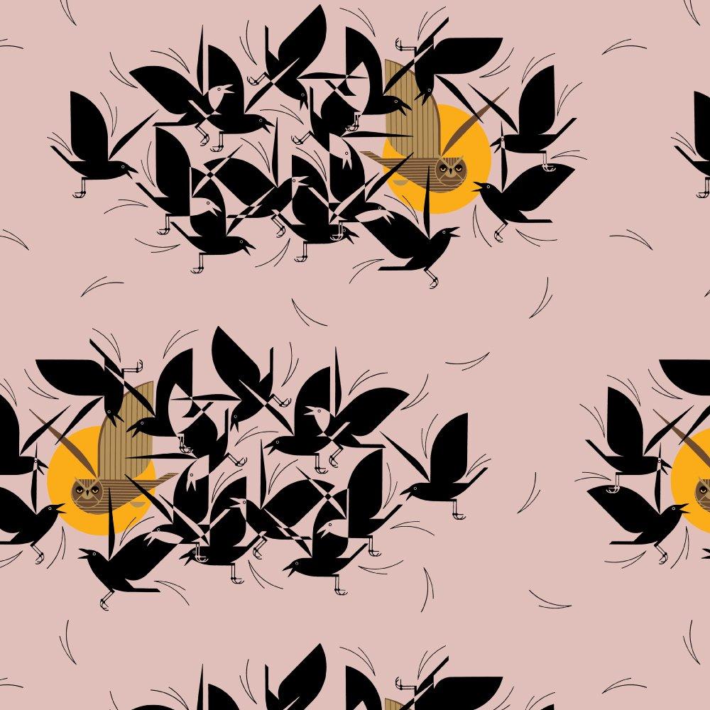 Organic Barkcloth - Owltercation - 58
