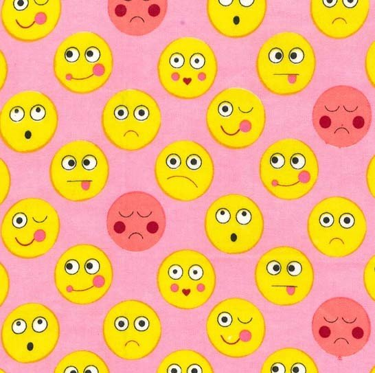 Funny Faces - Pink - Flannel