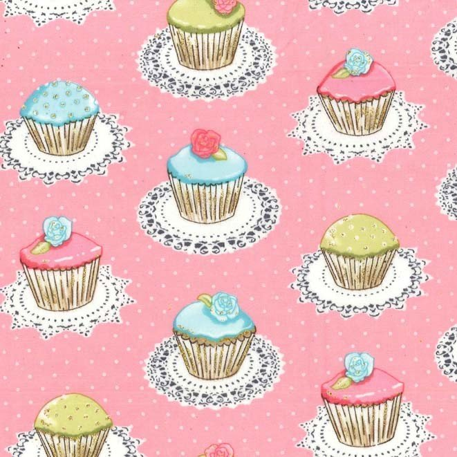 Quaint Cupcakes - Glitter Flannel - Pink