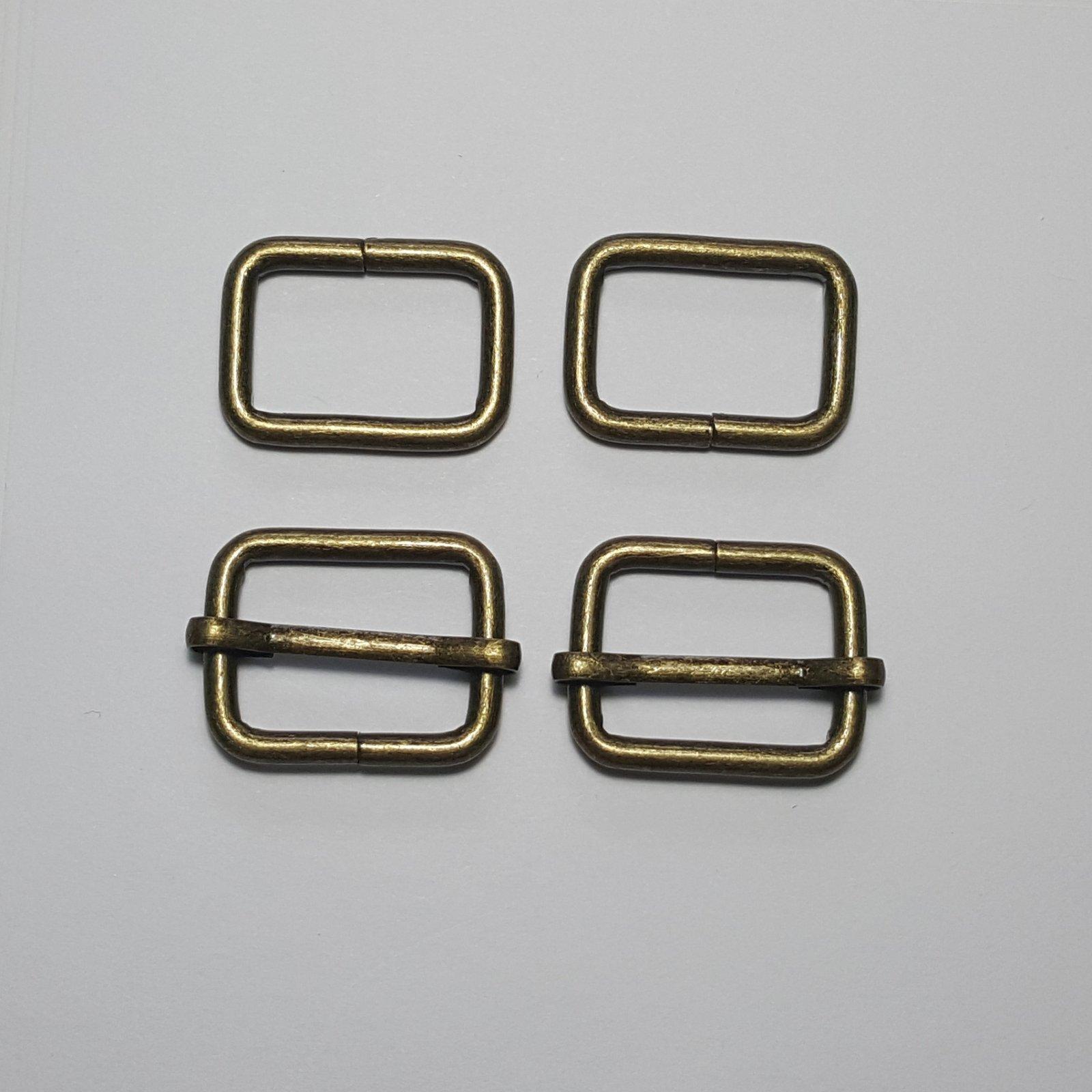 3/4- 2 Rectangle Rings + 2 Slides - Brass
