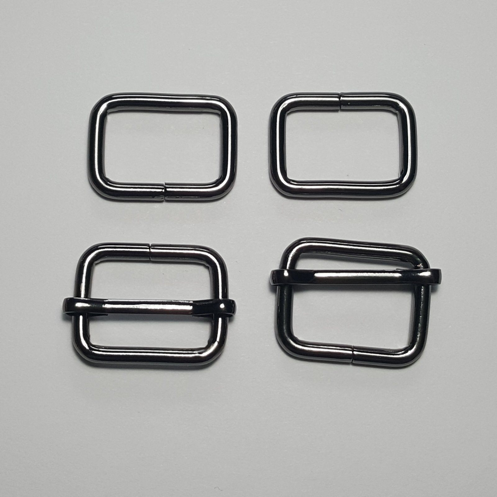 3/4- 2 Rectangle Rings + 2 Slides - Gunmetal