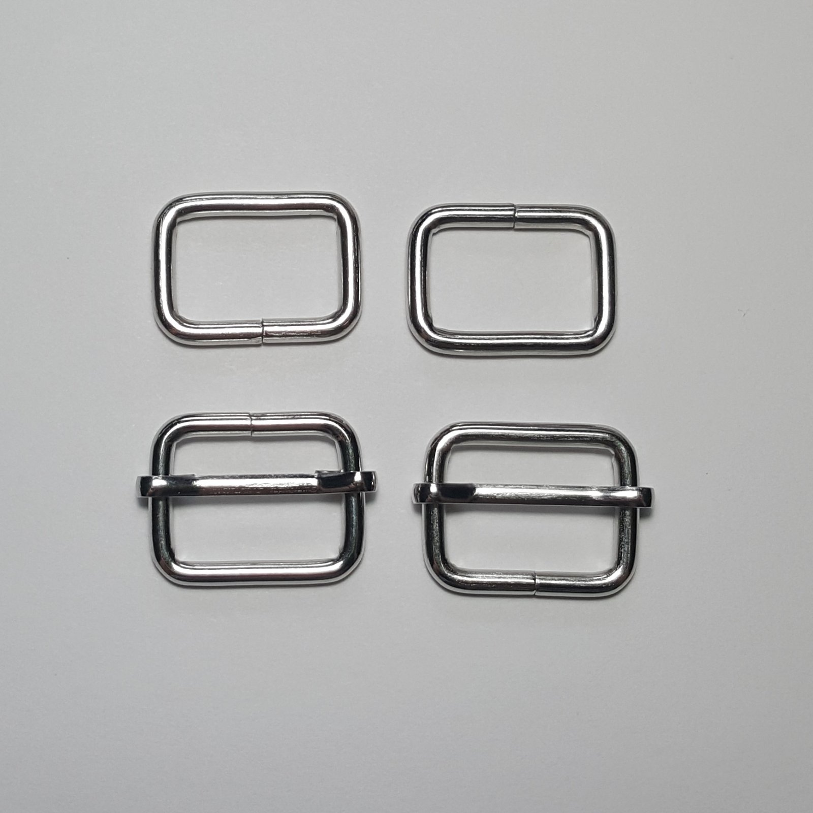 3/4- 2 Rectangle Rings + 2 Slides - Nickel