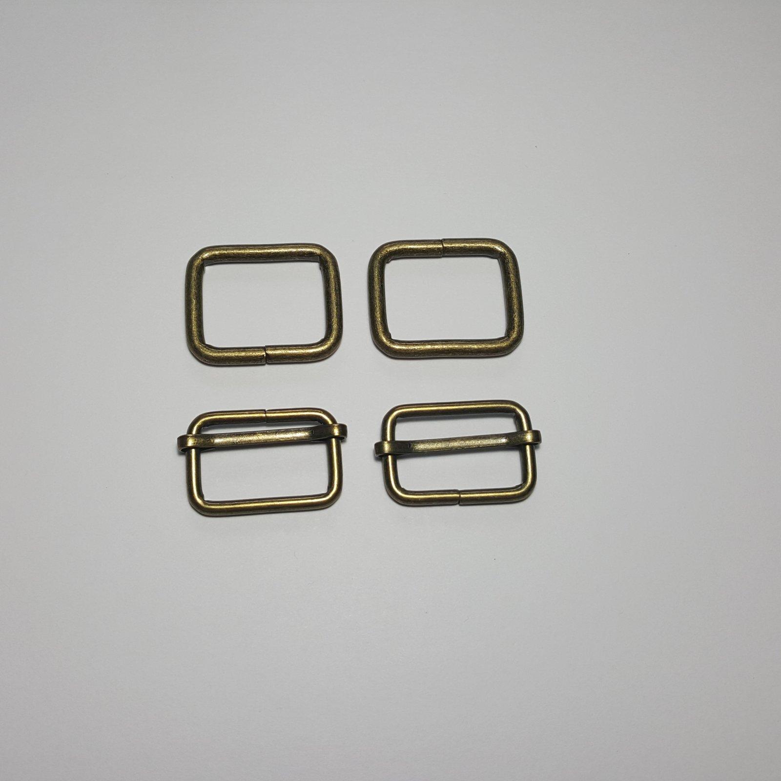 1- 2 Rectangle Rings + 2 Slides - Brass
