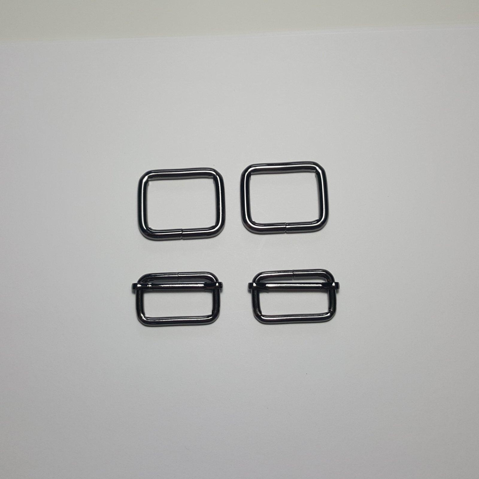 1- 2 Rectangle Rings + 2 Slides - Gunmetal