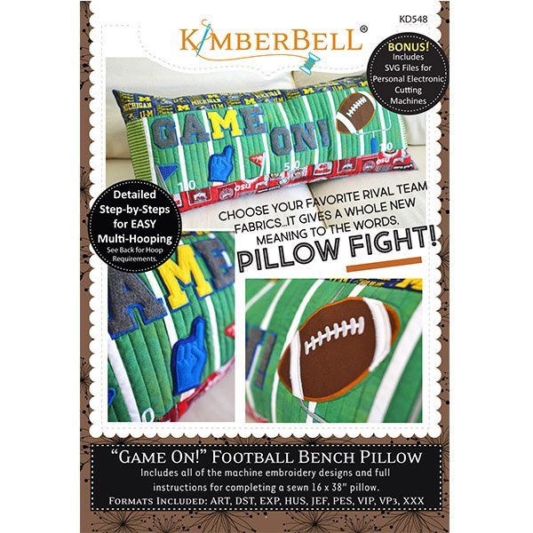 CD Game On! Football Bench Pillow - Machine Embroidery