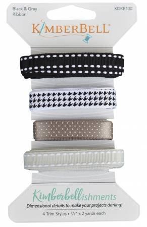 Kimberbellishments - Ribbon Assortment - Black and Grey