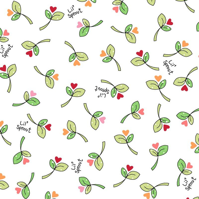 Lil' Sprout Flannel Too! - Sprouts N' Hearts - White