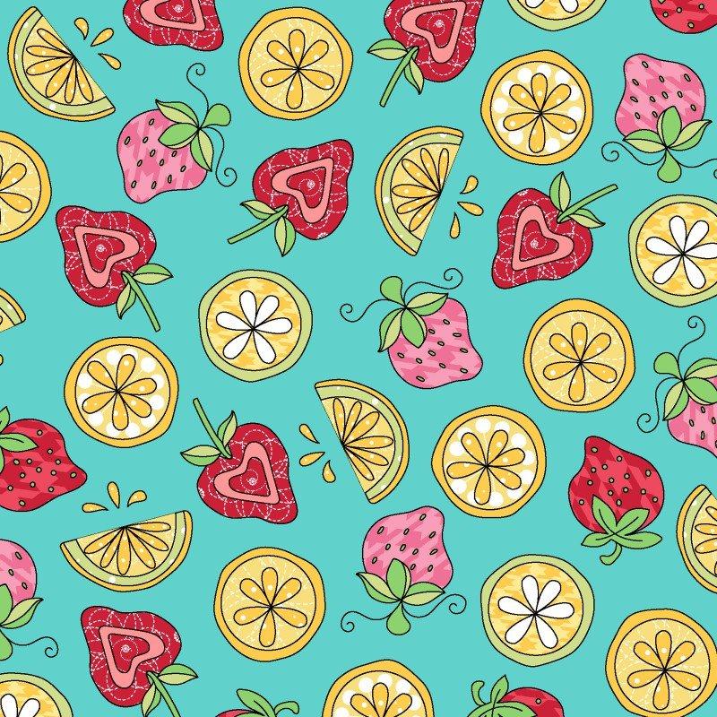 Lil' Sprout Flannel Too! - Strawberries N' Lemons - Teal