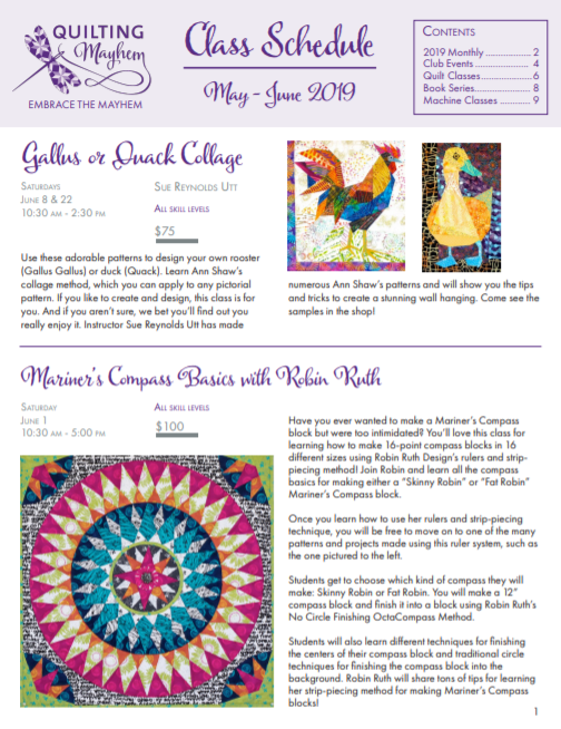 Print May and June Class Schedule