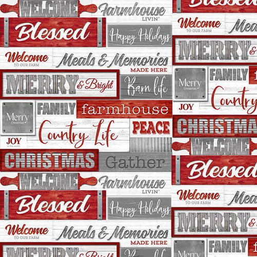 Holiday Homestead - Words - Red/Gray