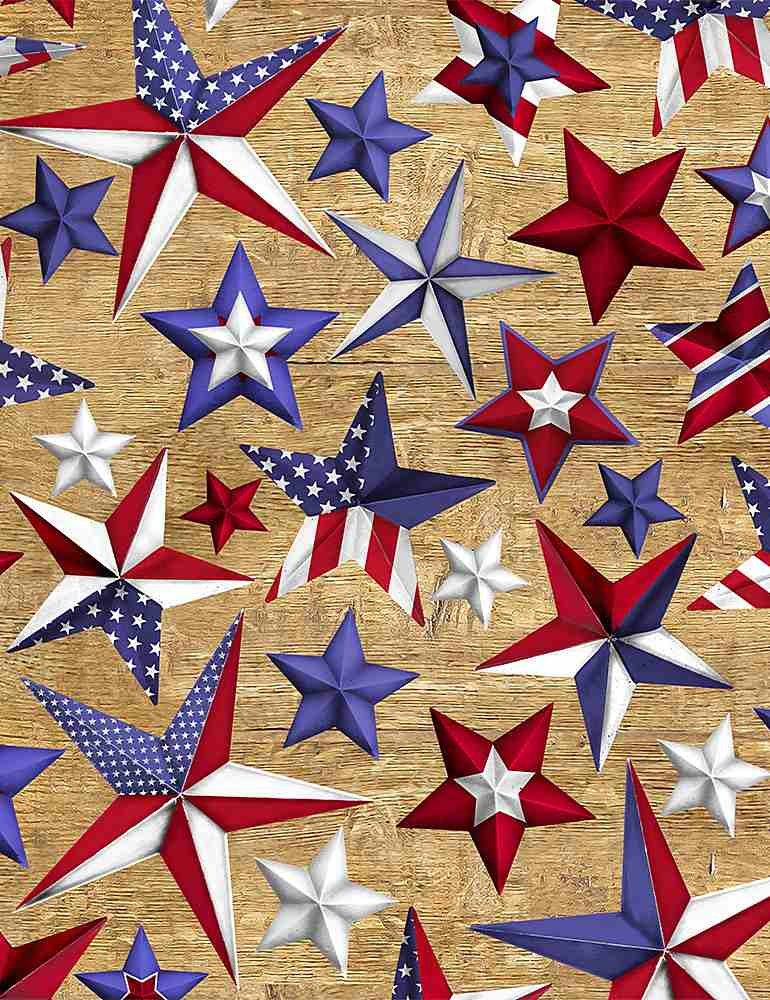 Patriotic Stars on Wood